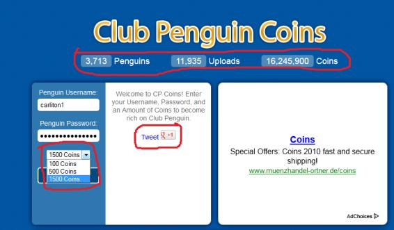 antes se podian añadir hasta 5.000 monedas, haora sale para twetear o dale me gusta po cuenta google y haora sale cuantos pinguinos se han agarrado monedas con eso,las subidas de monedas y la cantidad de monedas subidas